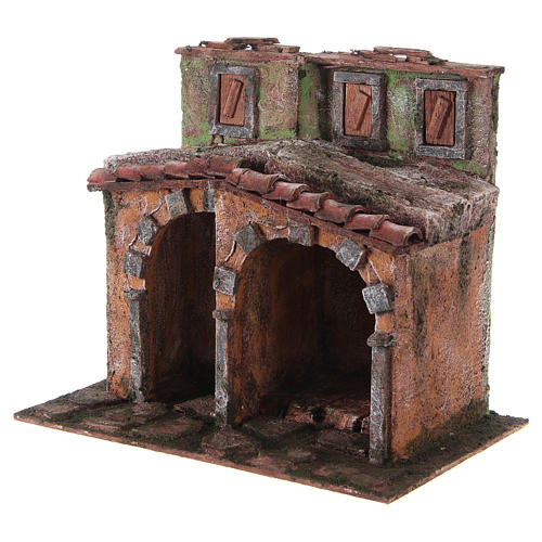 Casetta con capanna rustica presepe 10 cm 20x25x15 2