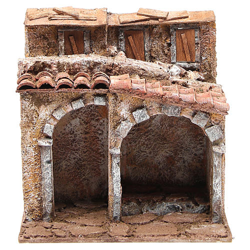 Small house with rustic hut Nativity 20x25x15cm 1