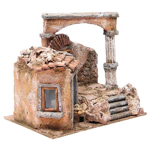 Casa con cabaña columna romana belén 28x30x20 cm 3