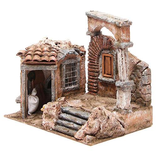 Maison avec cabane colonne romaine crèche 28x30x20 cm 2
