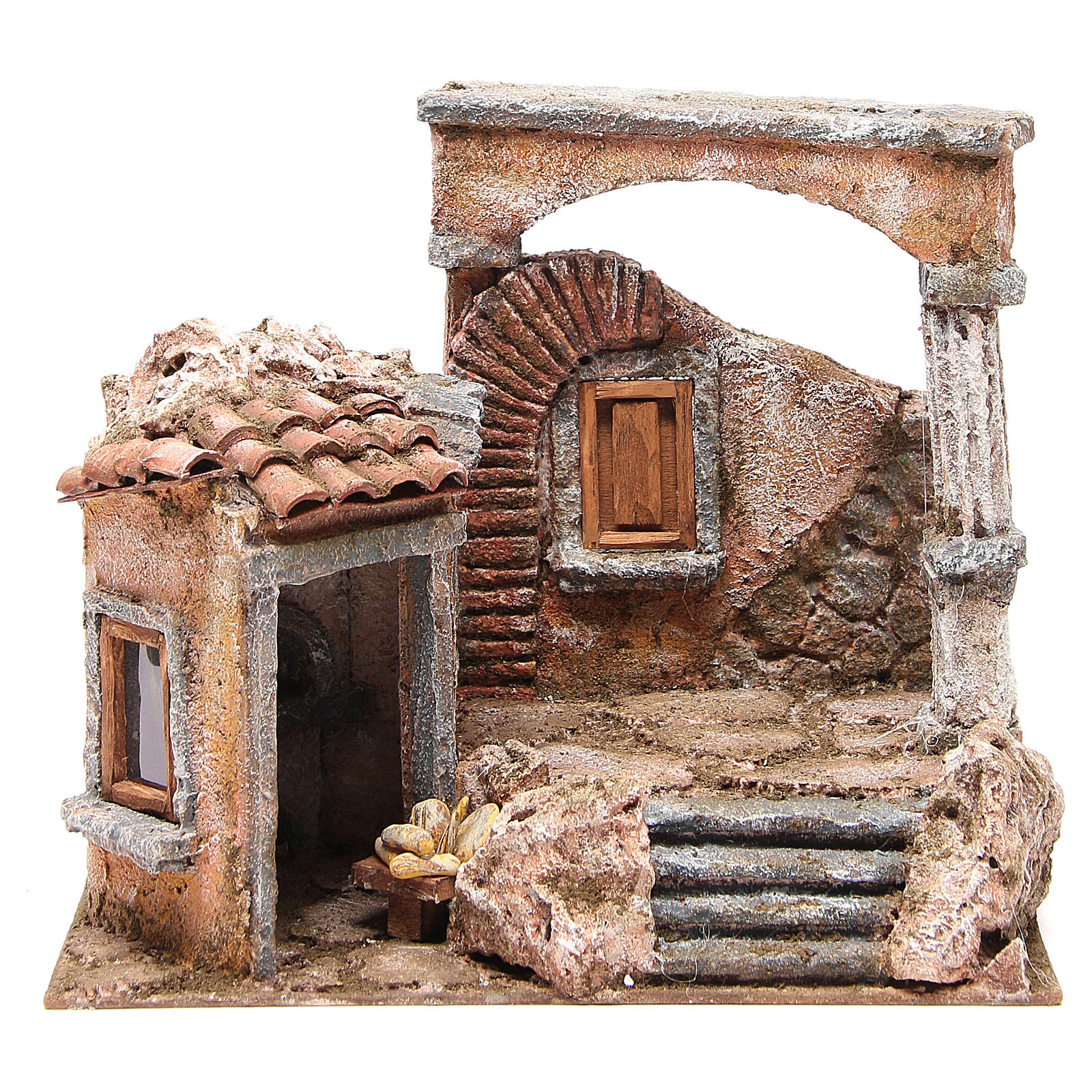 House with hut and roman column for nativity 28x30x20cm 4