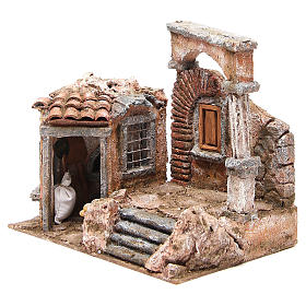 House with hut and roman column for nativity 28x30x20cm s2