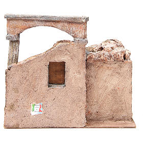 House with hut and roman column for nativity 28x30x20cm s4