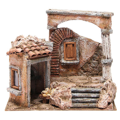 House with hut and roman column for nativity 28x30x20cm 1