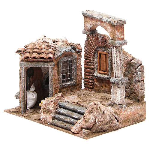 House with hut and roman column for nativity 28x30x20cm 2