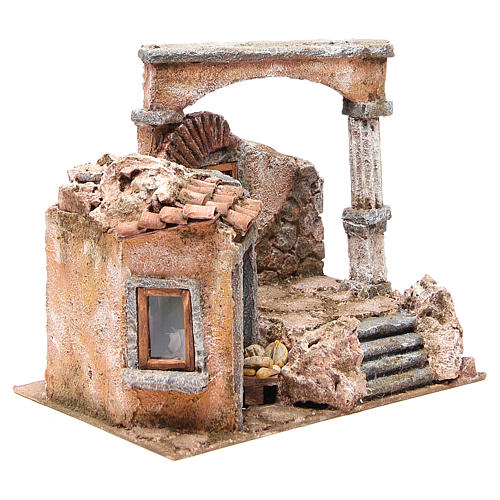 House with hut and roman column for nativity 28x30x20cm 3