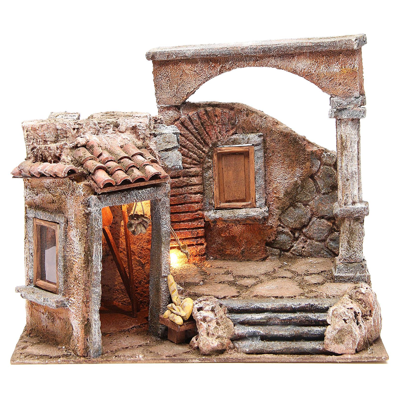 Casa con colonna romana e capanna per presepe 35x35x25 cm for Creare case