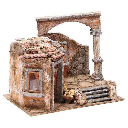 Casa con colonna romana e capanna per presepe 35x35x25 cm 3