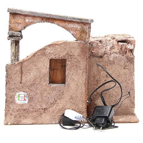 Casa con colonna romana e capanna per presepe 35x35x25 cm 4