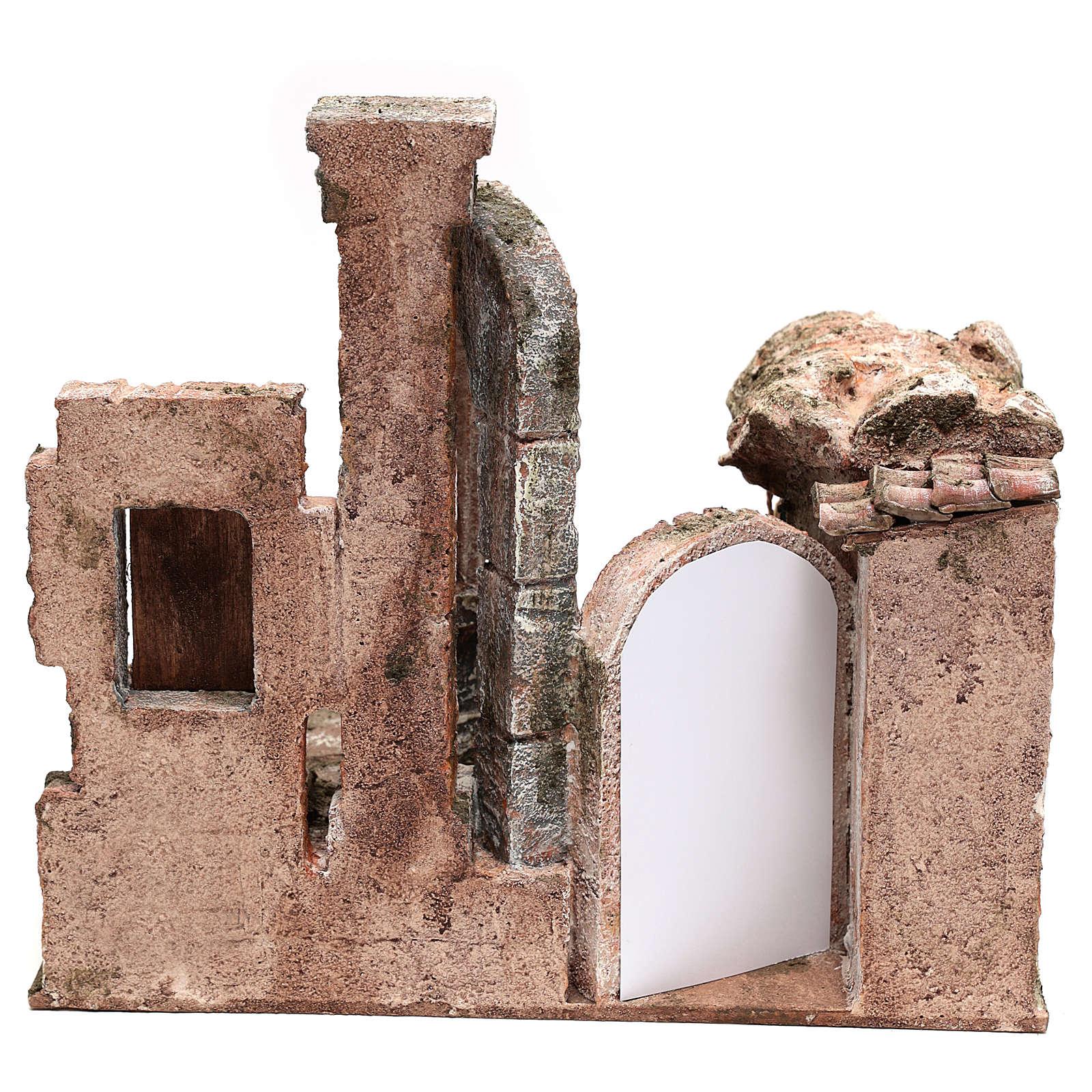 Aldea con columna y banquete belén 28x30x20 cm 4