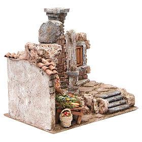 Aldea con columna y banquete belén 28x30x20 cm s3