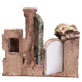 Bourgade avec colonne et banquet crèche 28x30x20 cm s4