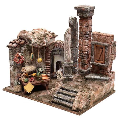 Bourgade avec colonne et banquet crèche 28x30x20 cm 2