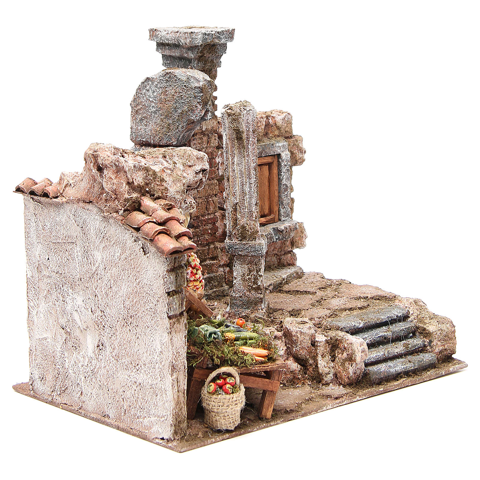 Borgo con colonna e banchetto presepe 28x30x20 cm 4