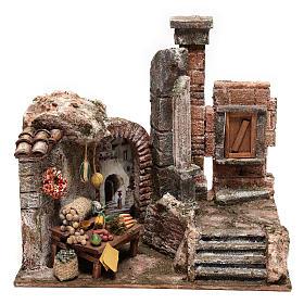 Borgo con colonna e banchetto presepe 28x30x20 cm s1
