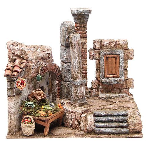 Borgo con colonna e banchetto presepe 28x30x20 cm 1