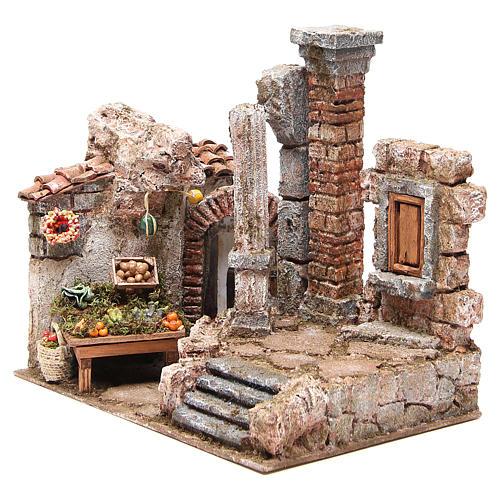 Borgo con colonna e banchetto presepe 28x30x20 cm 2