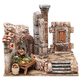 Hamlet with column and work bench for nativity 28x30x20cm s1