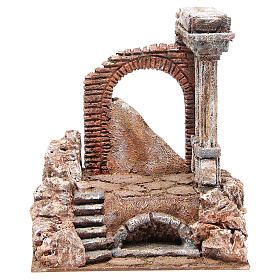 Casas, ambientaciones y tiendas: Parte de muro romano con 2 columnas belén 27x24x18 cm