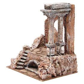 Parte di muro romano con 2 colonne presepe 27x24x18 cm s2