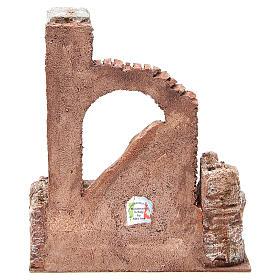 Parte di muro romano con 2 colonne presepe 27x24x18 cm s4