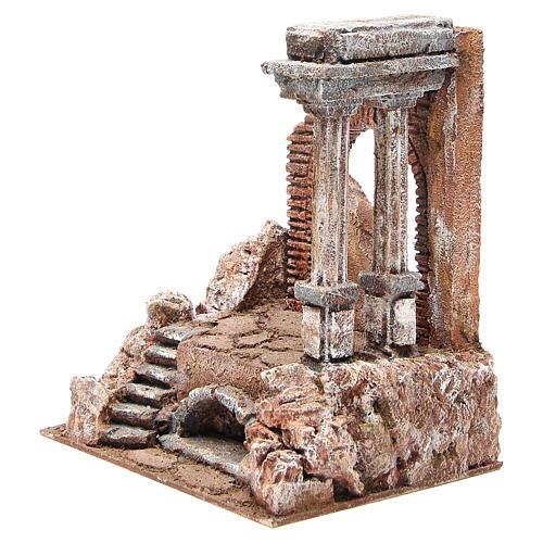 Parte di muro romano con 2 colonne presepe 27x24x18 cm 2