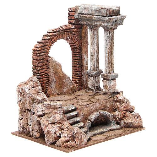 Parte di muro romano con 2 colonne presepe 27x24x18 cm 3