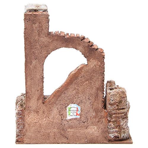 Parte di muro romano con 2 colonne presepe 27x24x18 cm 4