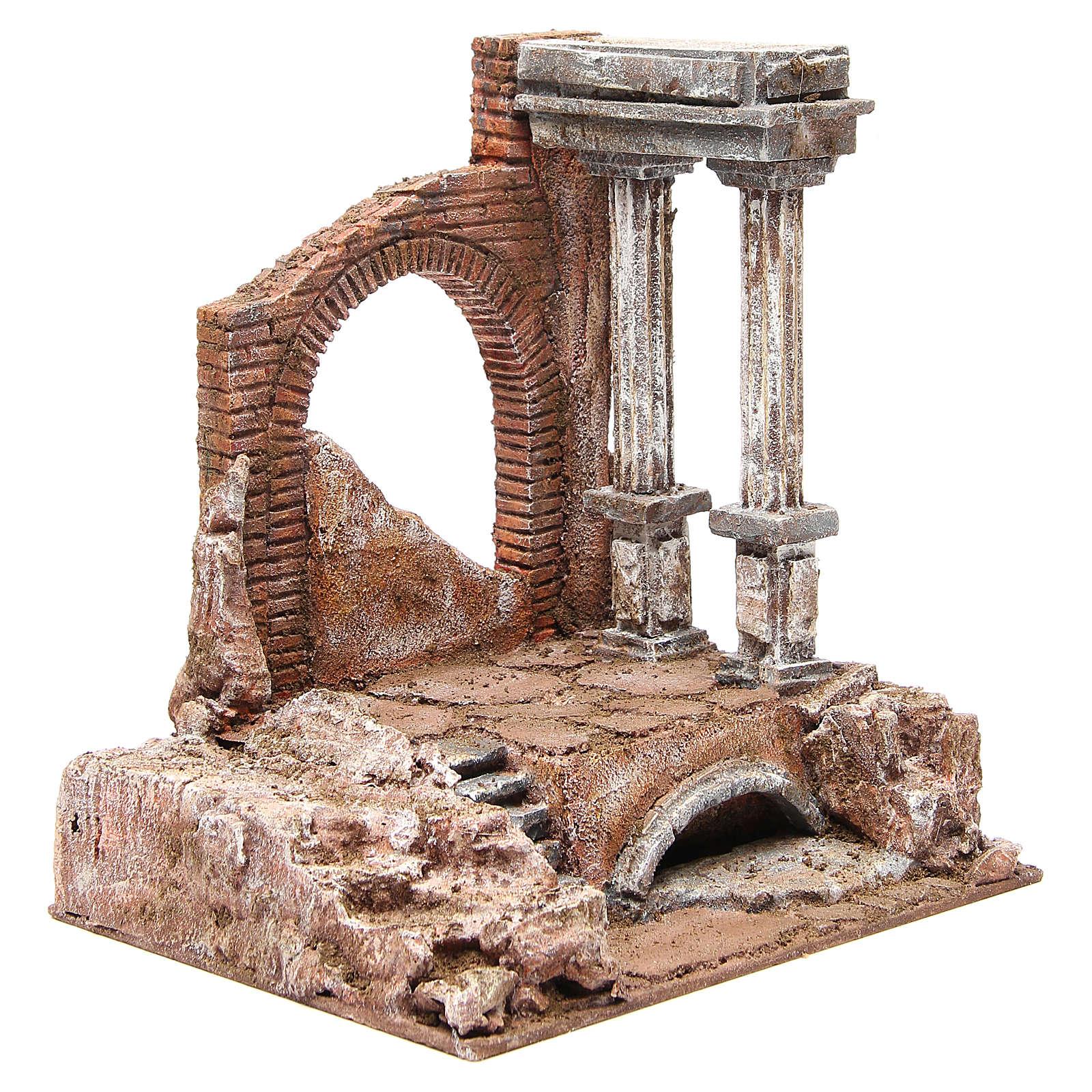 Muro romano antiguo 2 columnas ambientación belén 32x29x22 cm 4