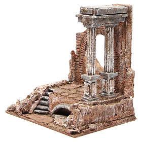 Mur romain ancien avec 2 colonnes décor crèche 32x29x22 cm s2