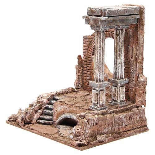 Mur romain ancien avec 2 colonnes décor crèche 32x29x22 cm 2