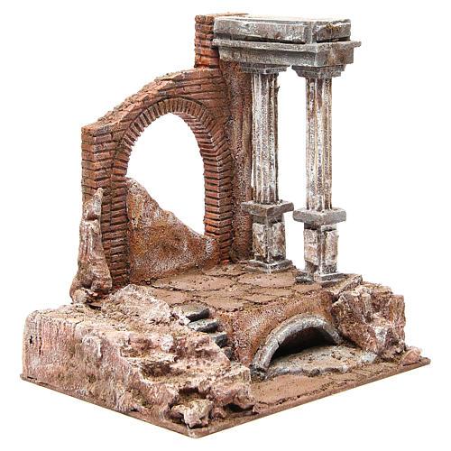 Muro romano antico con 2 colonne ambiente presepe 32x29x22 cm 3