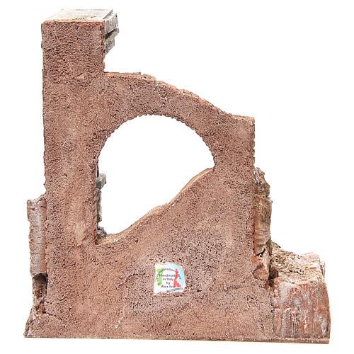 Muro romano antico con 2 colonne ambiente presepe 32x29x22 cm 4
