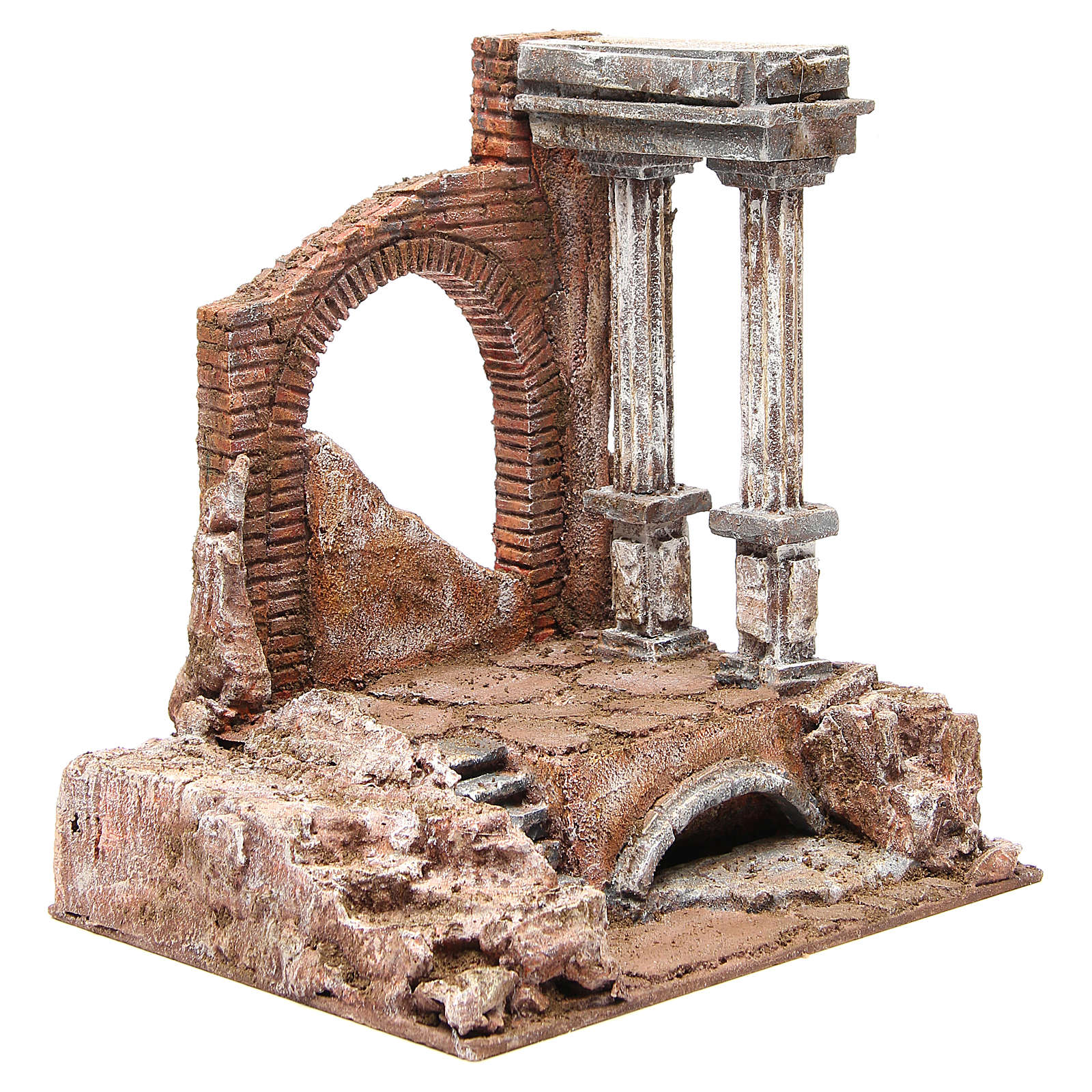 Antique Roman Wall with two columns for nativity 32x29x22cm 4