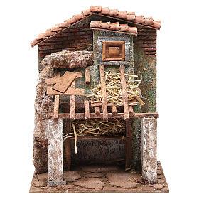 Stalla presepe con casa 30x24x18 cm s1
