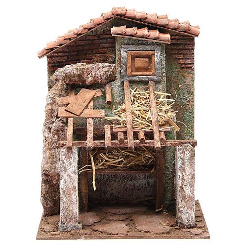Stalla presepe con casa 30x24x18 cm 1