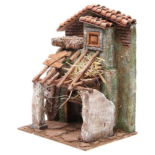 Stalla presepe con casa 30x24x18 cm 2