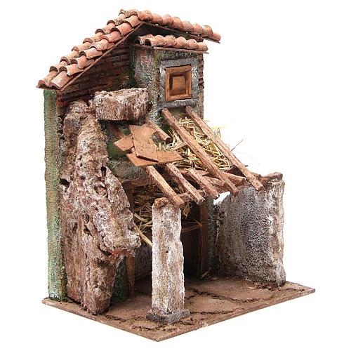 Stalla presepe con casa 30x24x18 cm 3