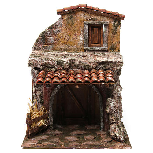 House with stable for nativity 30x24x18cm 1