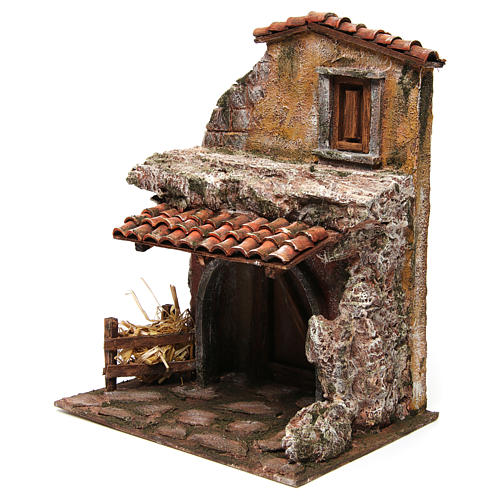 House with stable for nativity 30x24x18cm 2