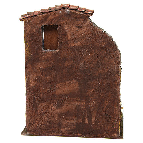 House with stable for nativity 30x24x18cm 4