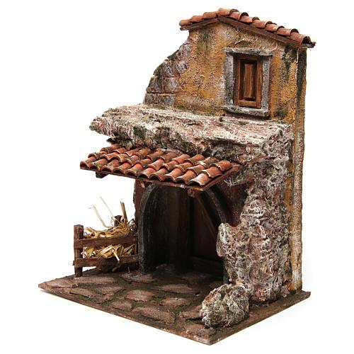 Maison avec étable pour crèche 30x24x18 cm 2