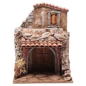Casa con stalla per il presepe 30x24x18 cm s1