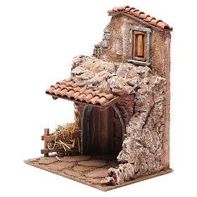 Casa con stalla per il presepe 30x24x18 cm s2