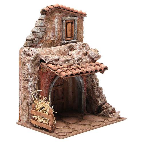 Casa con stalla per il presepe 30x24x18 cm 3