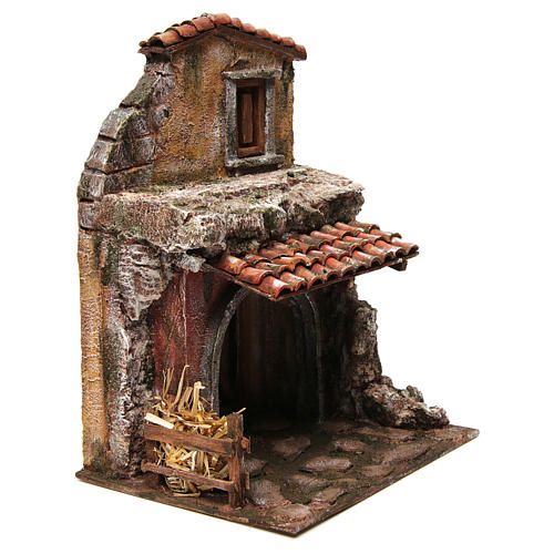 House with stable for nativity 30x24x18cm 3