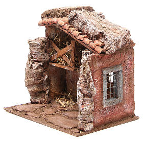 Stall nativity with barn 25x24x18cm s2