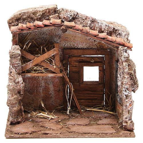 Stall nativity with barn 25x24x18cm 1