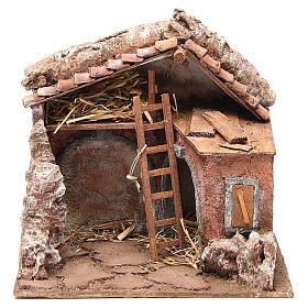 Stall for nativity with barn 25x24x18cm s1