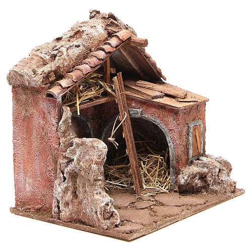 Stall for nativity with barn 25x24x18cm 3